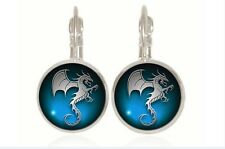 new Dinosaur silver Glass cabochon 18mm handmade Earrings Jewelry GC-21