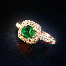 Rose Gold Plated Green Emerald Crystal Engagement Ring Size 5 R138