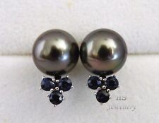 HS Eggplant Tahitian Cultured Pearl 10.5mm & Sapphire .84ctw Stud Earrings 14KWG