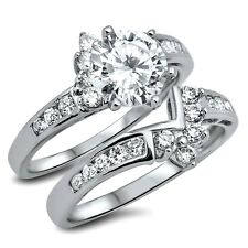 .925 Sterling Silver Wedding Ring set size 9 Engagement CZ Bridal New wz42