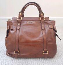 Genuine Miu Miu Vitello Dark Brown Crackled Leather Bow Bag Classic Handbag Bag