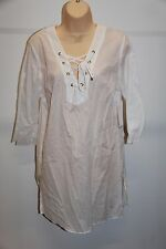 NWT Michael Kors Swimsuit Cover Up Shirt Dress Size M White Cotton
