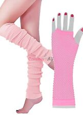 Ladies Legwarmers Gloves leg warmers Knitted Neon Dance 80s Party Costume 1980s