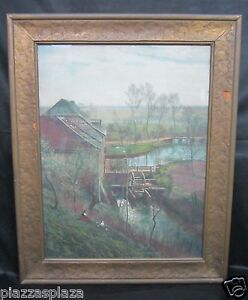 Max Merker (1861-1928) listed artist signed early litho original glass and frame