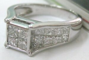 18ct White Gold 1.26ct H/VS DIAMOND invisible CHANNEL engagement Ring CERT incl