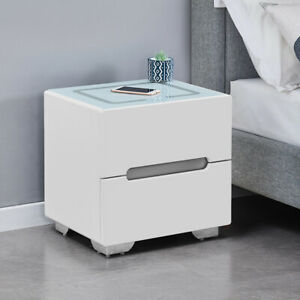 2 Drawers Multi-color Bedside Table With Wireless Charging Glass Top Nightstand