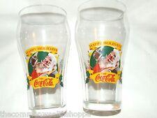Pair of Coca Cola® 1997 Christmas Santa Collector Glasses Near Mint