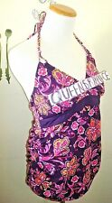Motherhood Maternity size Mediun M Purple Floral Halter Tankini SwimSuit Top
