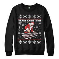 Dj Santa Christmas Jumper Disc Jockey Festive Xmas Gift Adult Kids Jumper Top