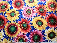 Sunflowers Cotton Fabric Fat Quarter Snow Leopard/Free Spirit Blue Flowers FQ