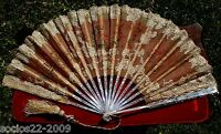 FAN EVENTAIL ANTIQUE MOTHER OF PEARL STICKS  AND LACE HAND FAN