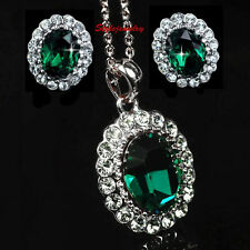 White Gold Filled Emerald Green Birthstone Set Made With Swarovski Crystal XS18