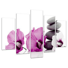 Set of Five Pink Floral Canvases Prints Wall Bedroom Pictures 5069