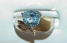 10K Schweizer Blau Topas Billion Solitär Schild Ring Größe 7 Vintage Modernism