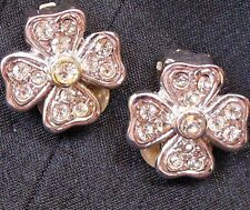 Vtg Small Signed Artini Silver Tone 4-Leaf Clover Rhinestone Clip Earrings 1/2""