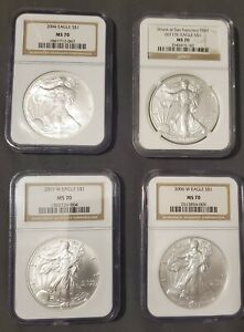 Set of 4 Ncg MS 70 silver eagle coins, 2004(S), 2006(W), 2007(W) and 2011(S)