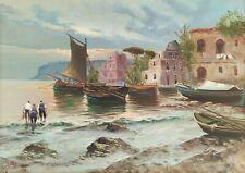 Salvatore Faliero Quadro dipinto olio su tela Marina barche Costiera Amalfitana