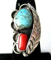 Sterling Silver Coral & Turquoise Navajo Old Pawn Ring Size 5