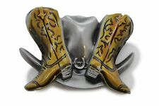Rodeo Beige Boots Cowboys Big Hat 3D Belt Buckle Men Women Silver Metal Western