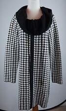 Fever Size Large Houndstooth Sweater Coat Black White Drawstring Collar