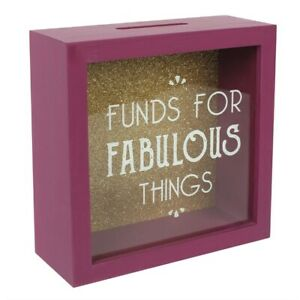 NEW IN BOX - Money Box With Wooden Frame Girls/Ladies Funds for Fabulous Things