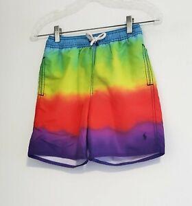 Polo Ralph Lauren Boys Captiva Rainbow Swim Trunks Multi Sz XL (18-20) - NWT