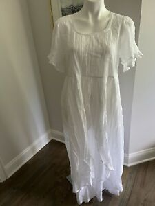 April Cornell Bronte Sisters Nightgown Women's Small White Cotton Long NWT $100.
