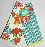 The Pioneer Woman Wildflower Whimsy Kitchen Towel Set of 2 White Teal Floral