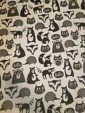 PILLOWFORT Forest Friend Fabric Shower Curtain Black White Fox Owl Bear Hedgehog