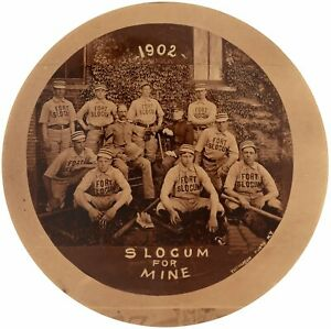 "1902 Fort Slocum Baseball Team, New Rochelle, NY Large 3""  Team Photo Pinback"