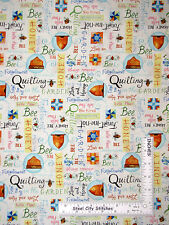 Qulting Bee Hive Garden Honey Toss Cotton Fabric Red Rooster 26330 White - Yard