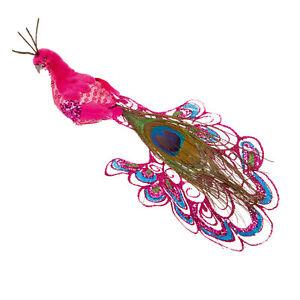 Christmas Decoration - Long Tailed Peacock Bird on Clip - 21cm - Choose Colour