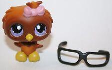 Hasbro Littlest Pet Shop 2007 #354 Brown Owl Purple Eyes Pink Bow Glasses