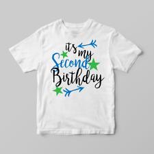 It's My Second 2nd Birthday Boys Childrens Kids T Shirts T-Shirt Top Arrow Star