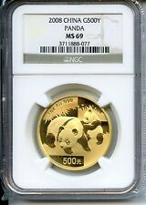 CHINA  PANDA 2008  NGC MS 69  500YUAN  GOLD 1 OZ
