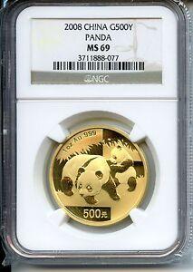 CHINA  PANDA 2008  NGC MS 69  500YUAN  GOLD 1 OZ