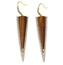 Meher's Jewelry Tiger Eye Gemstone Drop Earring Yellow Vermeil Silver