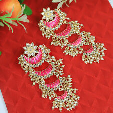 Indian Bollywood Fashion Gold Plated Enamel Chandbali Jhumka Earring Jewelry Set