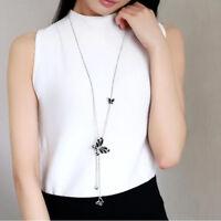 Women Long Tassel Pendant Necklace Sweater Chain Jewelry MA