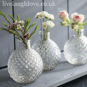 Set Of 3 Faceted Diamond Clear Glass Bud Vases