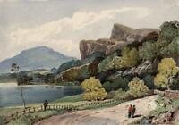 FALCON CRAG DERWENTWATER CUMBRIA LAKE DISTRICT Watercolour Painting 19TH CENTURY