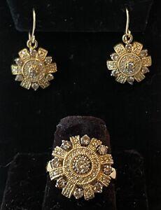 EFFY 14k Yellow Gold Genuine Diamond Ring & Matching Dangle Earrings Set 17.6g