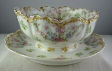 Haviland Limoges Schleiger #72 Gravy Boat w/Attached Underplate Double Gold