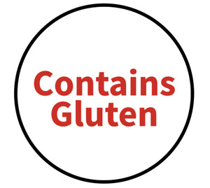 """""""Contains Gluten"""" Food Allergy Labels - Red - 19mm (117 per sheet)"""