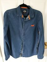 Superdry Small Mens Denim Effect Shirt Blue Orange Long Sleeved