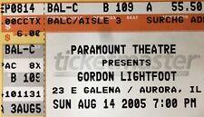 Gordon Lightfoot Genuine Used Concert Ticket Stub