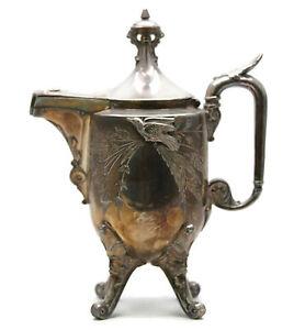Victorian Aesthetic Movement Silverplated Coffee Tea Pot Reed Barton Birds U18