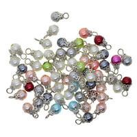 50x Assorted Color Pearl Filigree Flower Cap Jewelry Making Charms Pendant