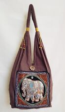 Thai Hippie Hobo Shoulder Bag Embroidered Elephant Handmade Ethnic Multi Color