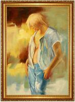 Ölbild,blonder Teenager,Ölgemälde HANDGEMALT,60x90cm REDUZIERT,TOTALABVERKAUF